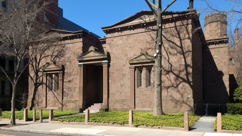 New Haven, CT/USA - April 3, 2019, Yale University Skull and Bones Secret Society - Image.