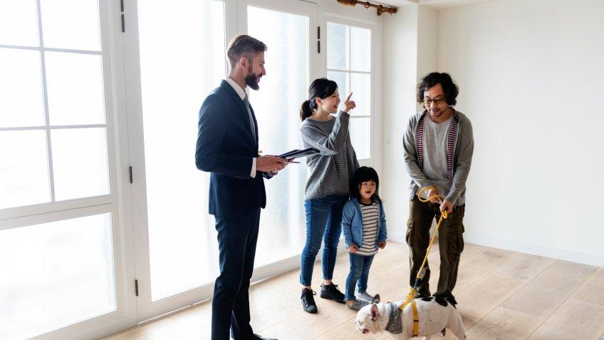 Asian family buy new house.