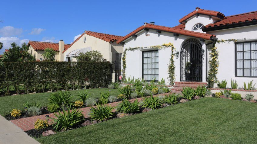 Spanish style house the La Brea neighborhood of Los Angeles, CA, USA, March 22, 2017.