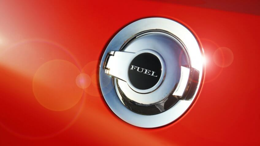 Fuel door icon on side of a custom muscle car - Image.