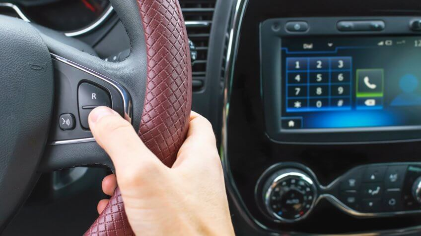 use of hands free in the car for talking on the phone - Image.