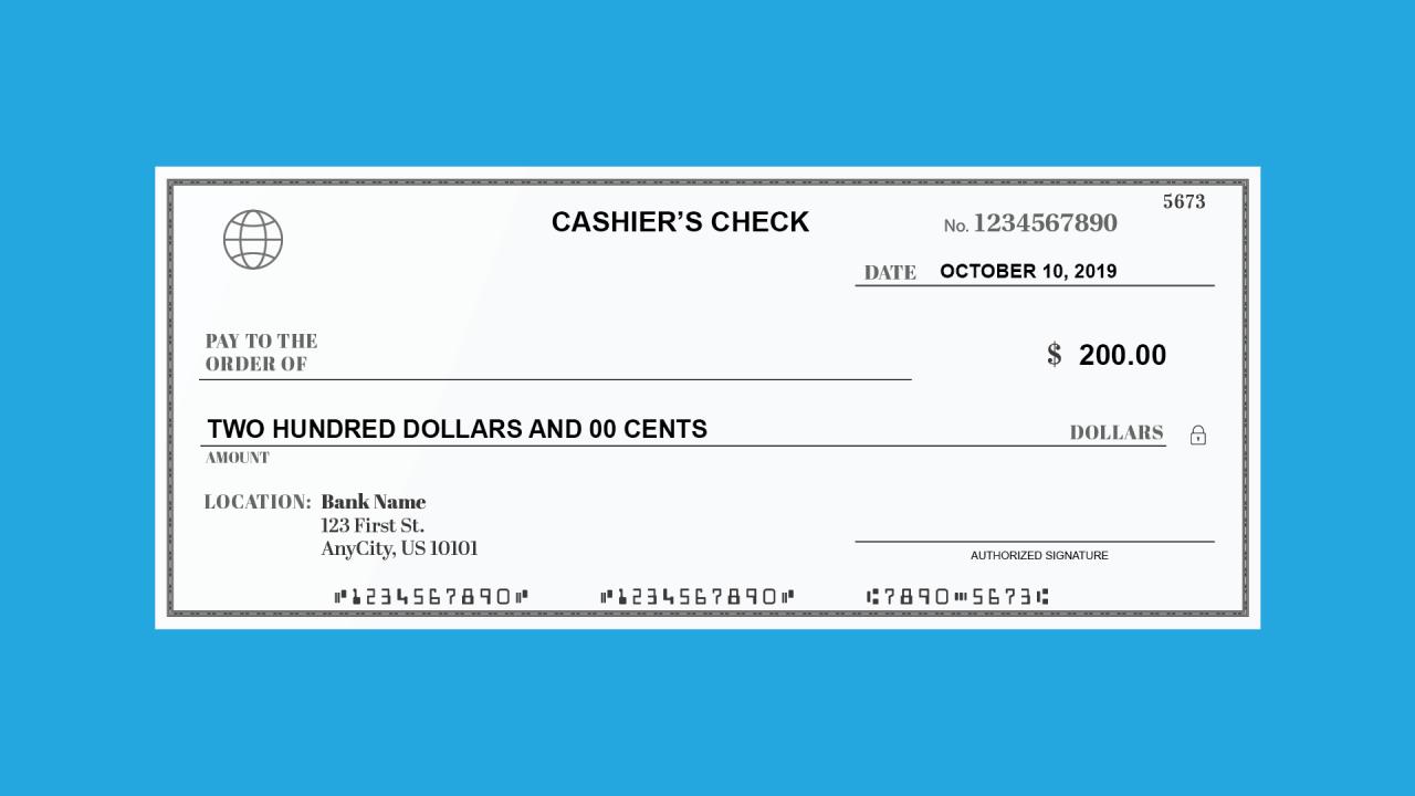 Cashier's Check Parts
