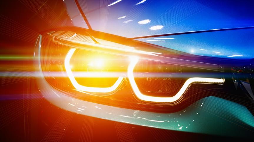 colored headlights on car