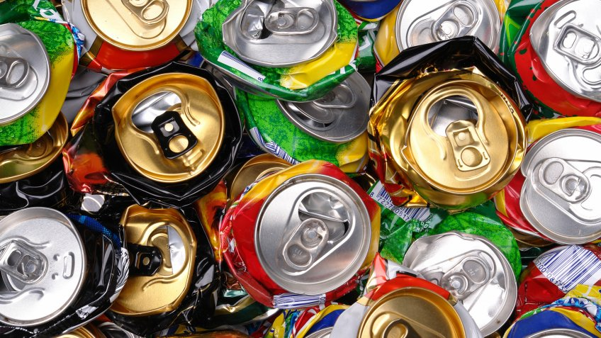 Background of various crashed beer cans - Image.