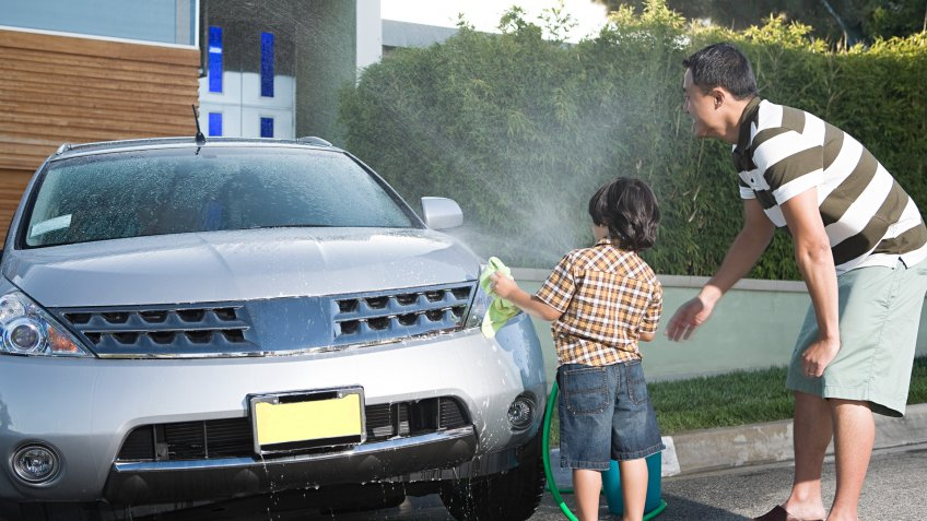 Bonding, Care, Childhood, Day, Driveway, East Asian Ethnicity, Father, Horizontal, Hose, Life, Male, Photography, Son, Spraying, Togetherness, Two People, WASH, Water, Young Adult, automobile, boy, child, cleaning, cloth, color, house exterior, leisure, man, outside, parenthood, transport, young man
