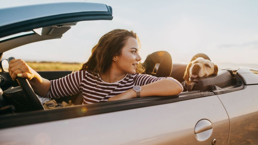 Photo of young woman traveling by car with her dog.