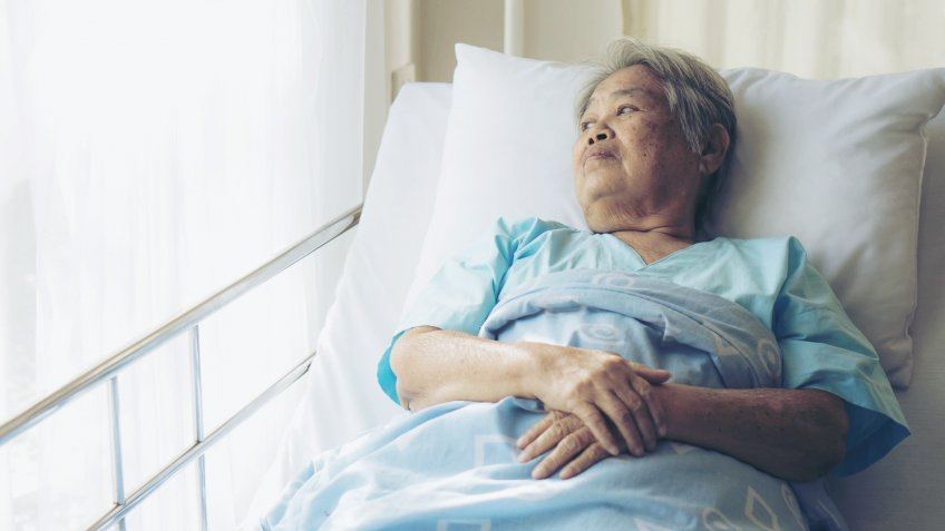 Lonely Elderly patients in hospital bed patients want to go home - medical and healthcare concept.