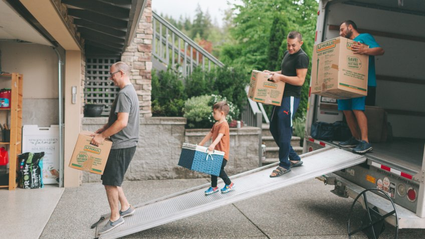 family moving boxes for relocation
