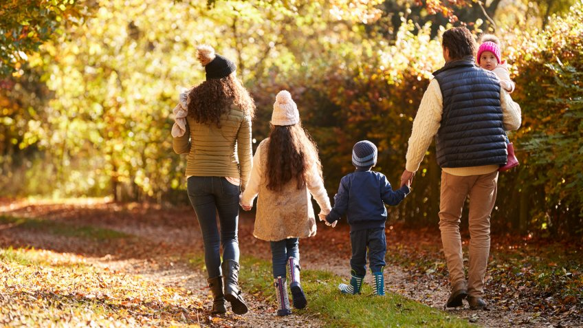 Rear View Of Family Enjoying Autumn Walk In Countryside.