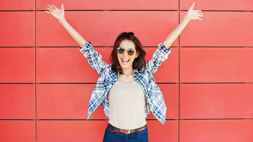 Excited happy woman portrait.