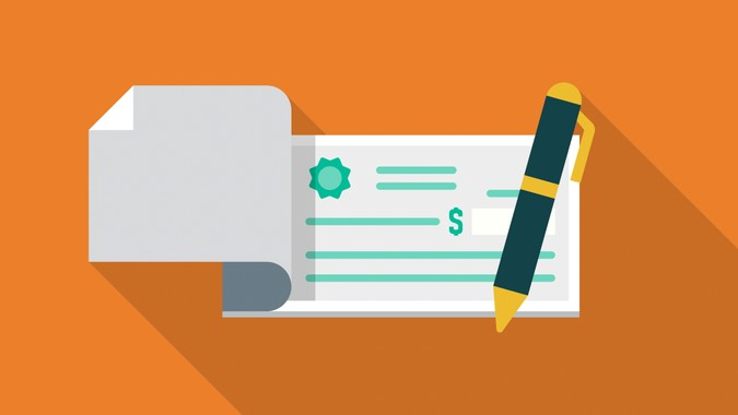 Checkbook Flat Design Finance Icon with Side Shadow.