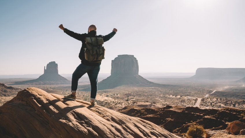 man in Utah hiking on his day off