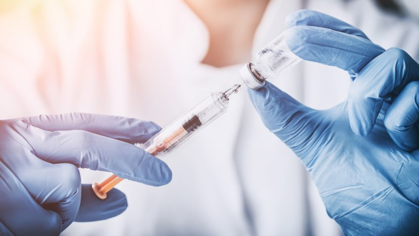 injecting injection vaccine vaccination medicine flu man doctor insulin health drug influenza concept - stock image - Image.