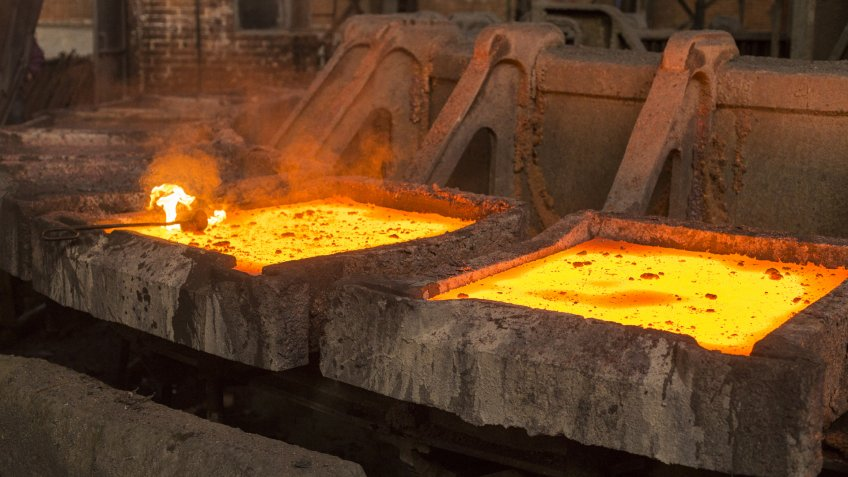 Copper smelter Copper smelting industry complex in process of making copper plates out of copper ore - Image.