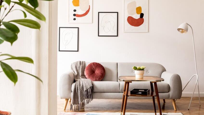 Minimalistic retro style home interior.
