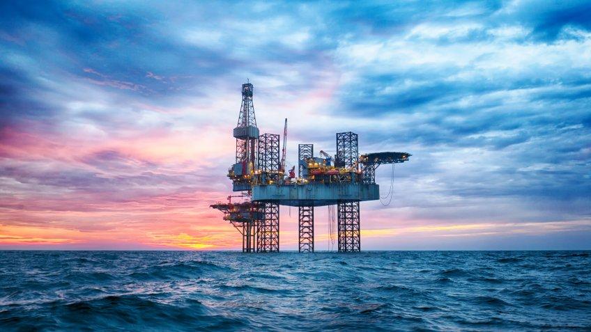 offshore oil rig in ocean