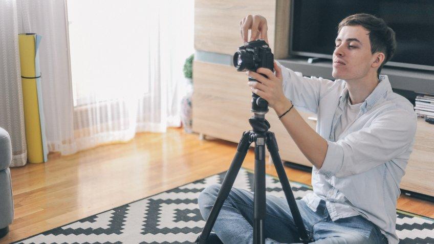 photographer shooting interior of home.