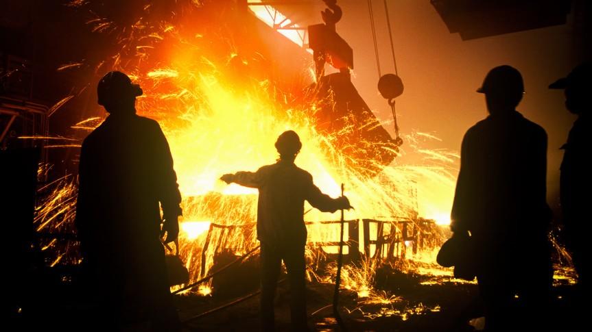 steel making factory workers