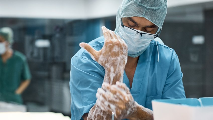 Veterinarian washing hands with soap.