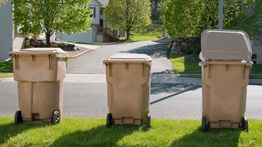 Trash bins lined up in a suburban sub division, waiting for the garbage truck.