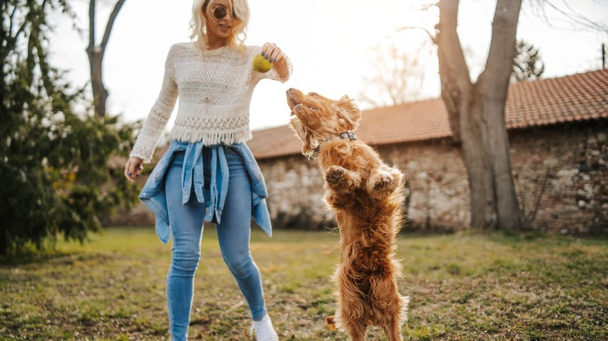 Young woman playing with her dog.