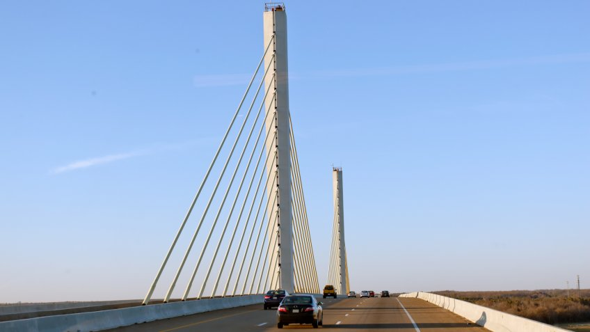 RV Life on the Road Series: Traveling north on the Varina-Enon Bridge across the James River entering Henrico County in Virginia.