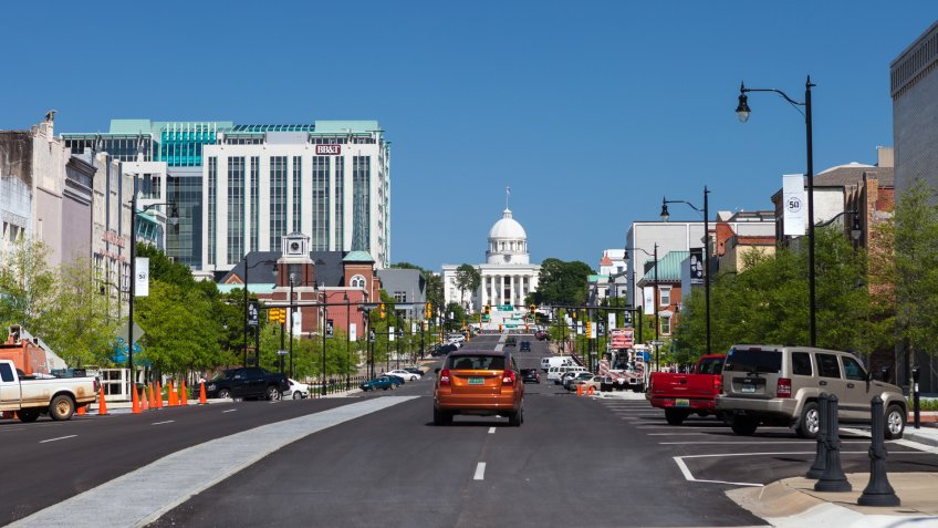 Montgomery, Alabama, USA - April 22, 2015:  View of the Alabama State Capitol looking down Dexter Ave.