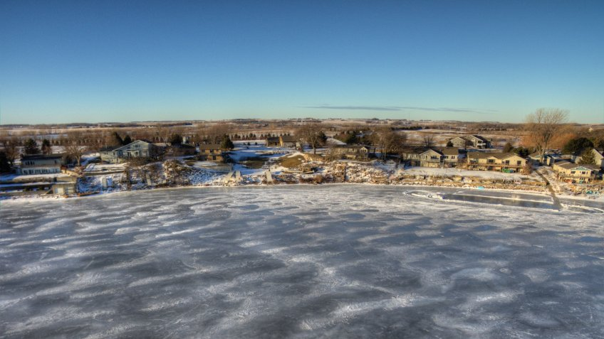 a frozen Lake Madison seen from above by Drone in Winter - Image.