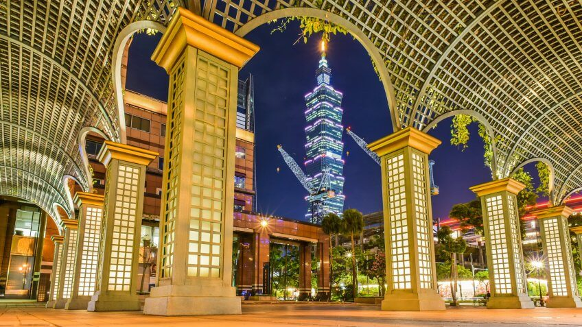 Golden Corridor and The City Night View at The Cathay Financial Holdings Square at XinYi District, Taipei, Taiwan - Image.
