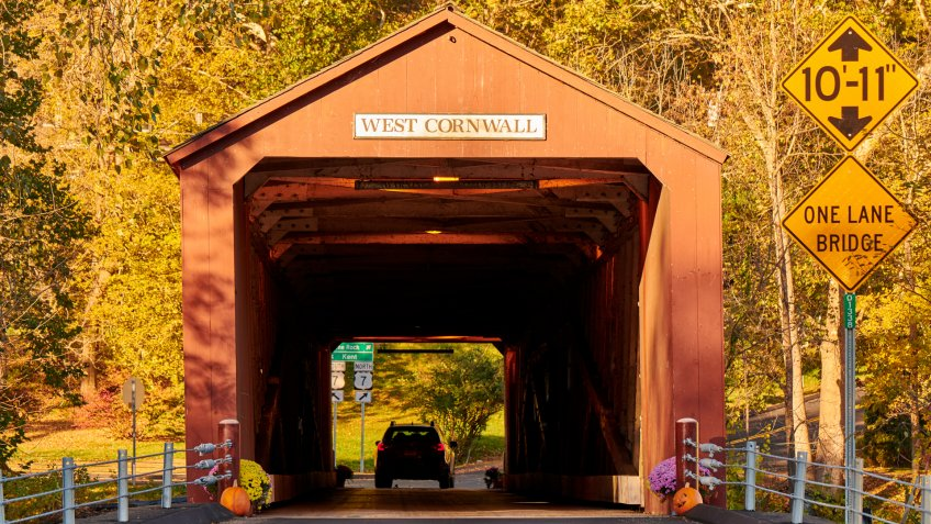 Covered bridge along scenic Route 7 in West Cornwall, Connecticut, USA.