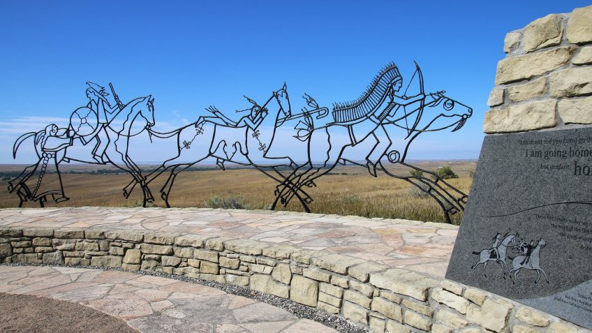MONTANA, USA -SEPTEMBER 4: Indian Memorial at Little Bighorn Battlefield National Monument on September 4, 2015 in Montana, USA.