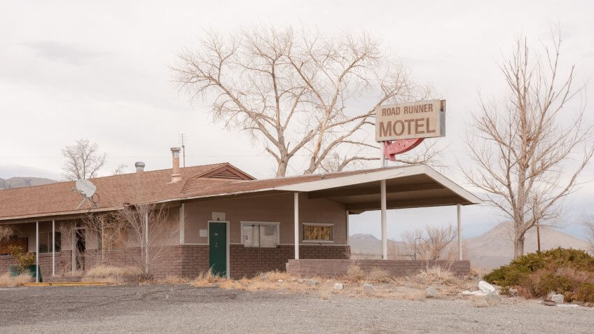 SCHURZ, NV, USA - NOVEMBER 27, 2018: An abandoned motel exemplifies the depressed economy in rural Nevada.