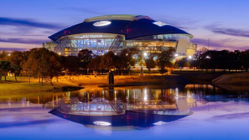 Arlington, Texas AT&T football Stadium, November 23, 2018 is home of the Dallas Cowboys AT&T Stadium located in Arlington, Texas USA, nightlight - Image.