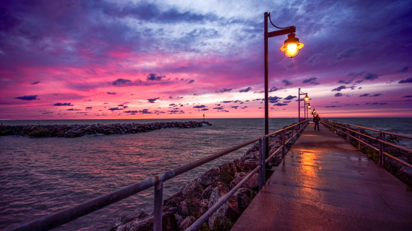 Sunset over Lake Erie from Avon, Ohio - Image.