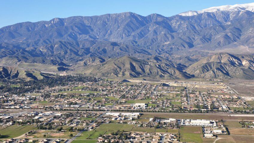 An aerial view of the town of Banning, California which lies at the base of Mount San Gorgonio.