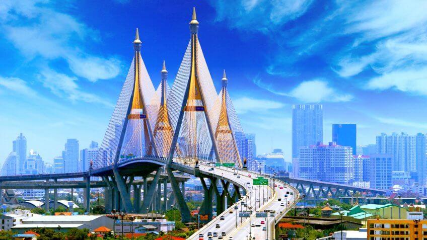 Bhumibol Bridge BANGKOK.