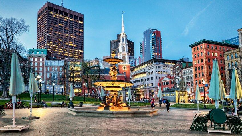 Boston, USA - April 28, 2015: Fountain at Boston Common public park and people in Boston, MA, United States.