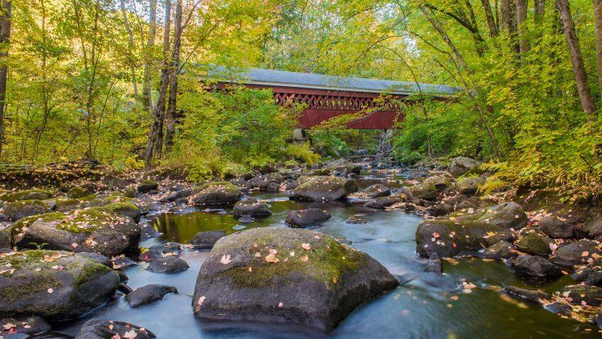 Nissitisset Covered Bridge in Brookline New Hampshire - Image.