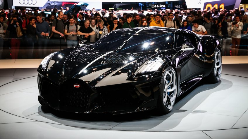 Geneva, Switzerland - March 10, 2019: The most expensive luxury car in the world Bugatti La Voiture Noire presented at the annual Geneva International Motor Show 2019.