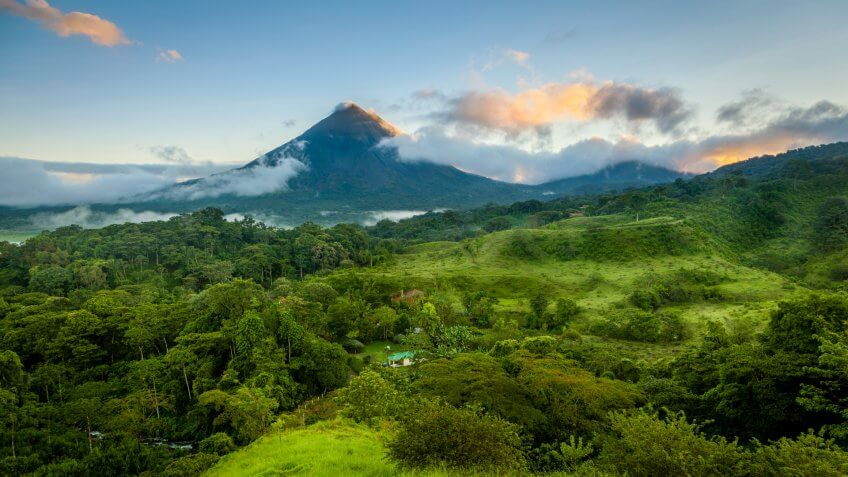 Scenic view of Arenal Volcano in central Costa Rica at sunrise.