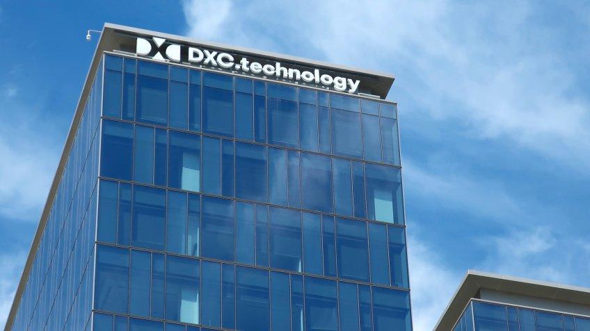 MCLEAN, VA - APRIL 20, 2019: DXC TECHNOLOGY - sign on headquarters building - Image.