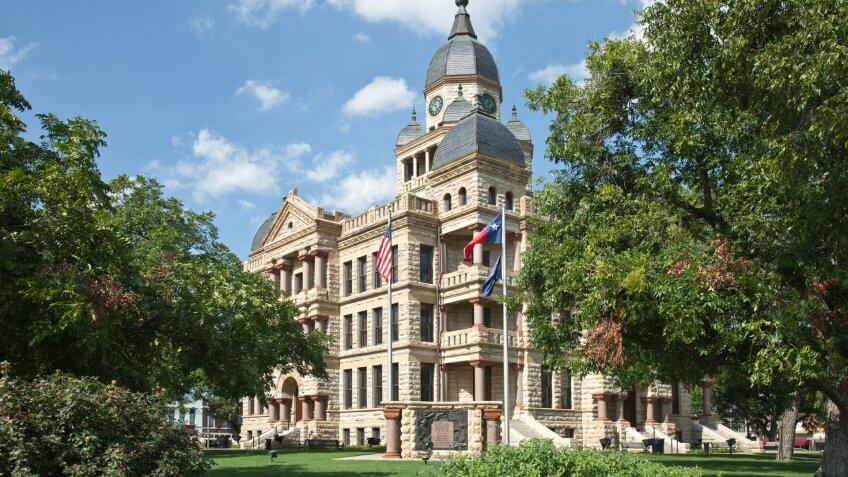 Recently restored Denton County Texas courthouse at North Texas town of Denton.