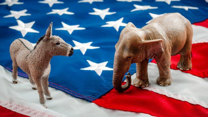 Democrats vs republicans are facing off in a ideological duel on the american flag.