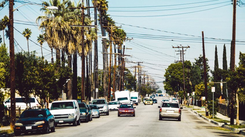 Traffic at streets of East LA,.