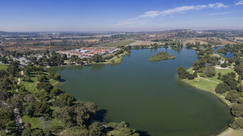 Beautiful aerial view of Whittier Narrows Recreation at South El Monte - Image.