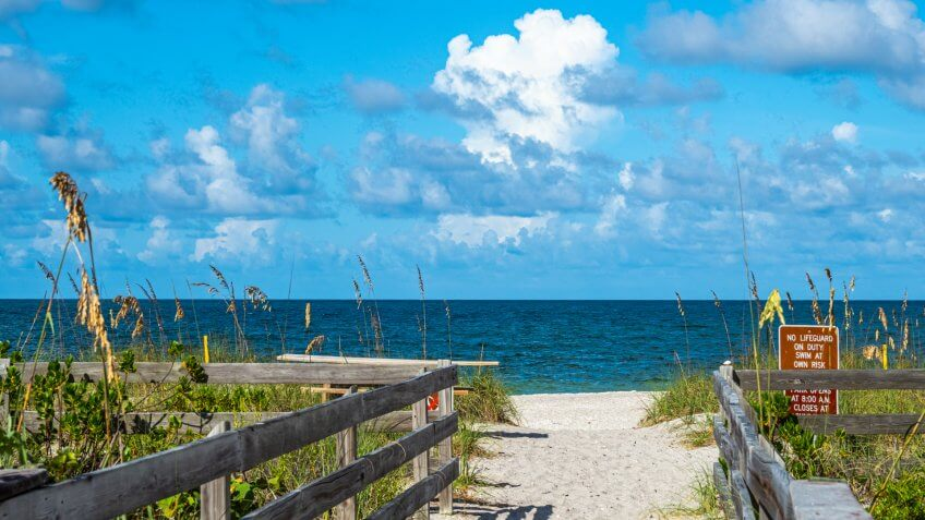 Walkway to beach in Stump Pass State Park on the Gulf of Mexico in Englewood in Southwest Florida - Image.