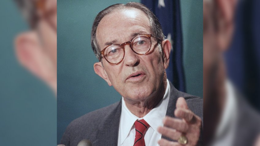 Former Attorney General Griffin Bell during news conference about EF Hutton banking fraud