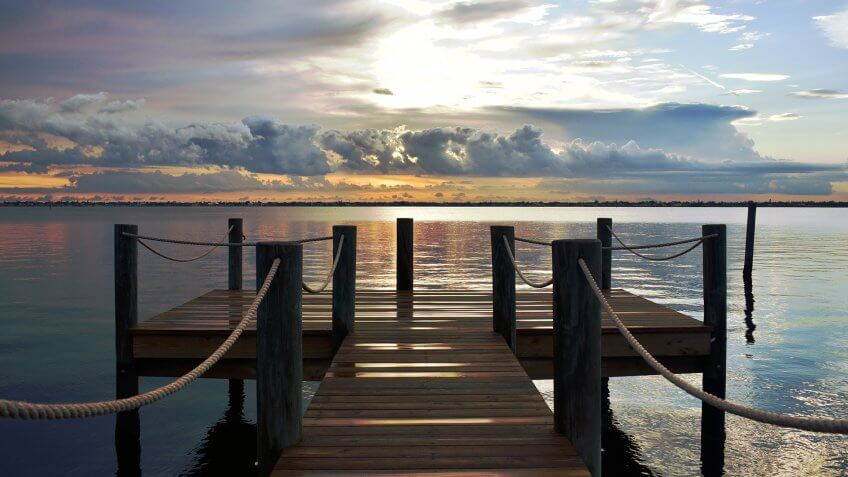Dock at Sunset on the Caloosahatchee, Fort Myers, FL - Image.
