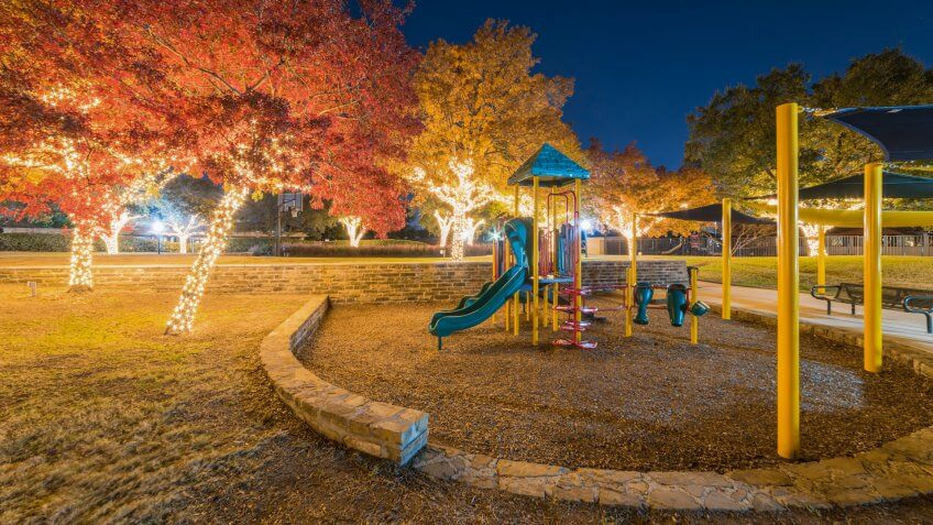 Holiday lightings at public park with playground near Dallas, Texas, USA.