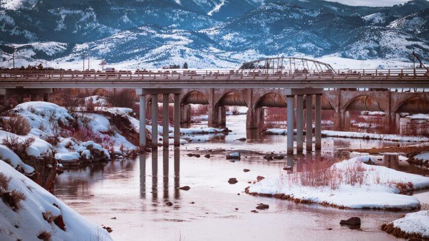 The Bear River Dam in Grace, Idaho in winter.